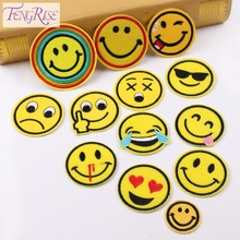 FENGRISE 13 Pieces 5cm DIY Embroidered Emoji Patches Smile QQ Face Iron On Applique Badge Sticker For Clothes Sewing Accessories