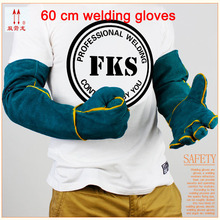 High quality blue gloves work leather wear big yards 60cmwelding gloves heat mechanic gloves full leather
