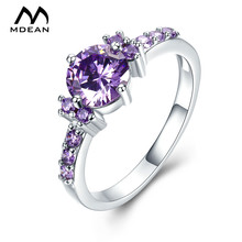 MDEAN White Gold Color Rings For Women Purple AAA Zircon Jewelry Engagement Wedding Size 5 6 7 8 9 10 11 12 MSR199(China)