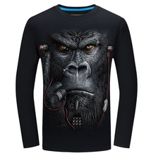 20 style 3D T-shirt S-6XL Mens Long sleeve 2017 Animal Orang Tiger Wolf Lion Printed T-shirts Men Cotton Casual Brand T shirt(China)
