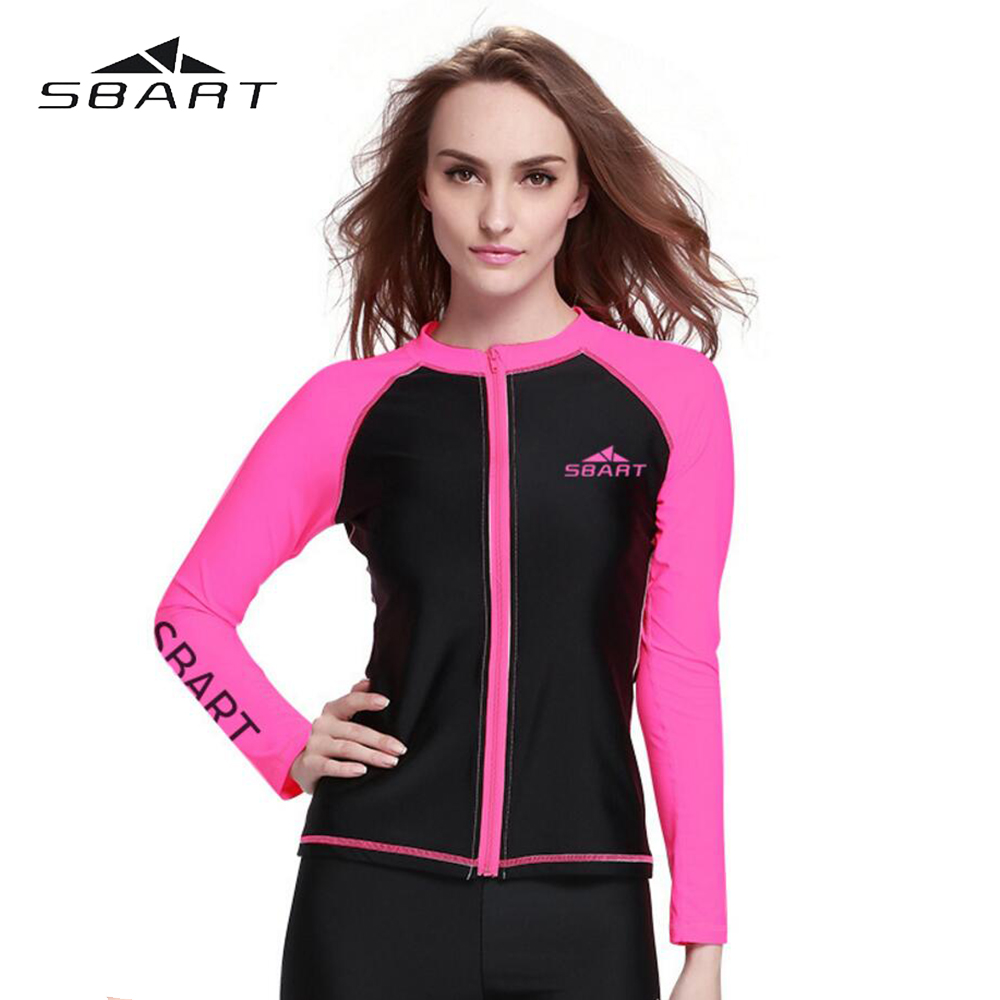 SBART Womens Rash Guard Swim Suits Rash Guard Surf Long Sleeve Tops Swimwear Snorkeling Wetsuit Windsurfing Kite Surfing Jacket(China)