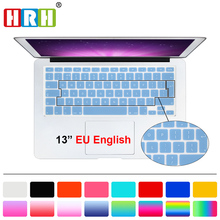 HRH Silicone UK EU English Keyboard Cover skin Protector Sticker Film For Macbook White Air Pro 13 15 17 for mac book air 13""