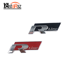 Rline R Line Chrome Alloy Trunk Badge Emblem Car Stickers for Volkswagen VW Golf 4 5 6 GTI Touran Tiguan POLO BORA Passat B5 B6(China)