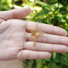 New Fashion Origami Hummingbird Necklace Bird necklace Bird jewelry Animal necklace Bird Lover Gift Gift for Girls(China)
