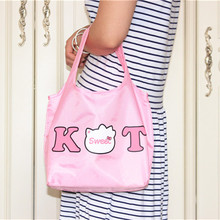 Hello Kitty Pink Women's Portable Storage Bag Shoulder Bags Ladies Hand Bag Cute Reusable Lunch Supermarket Eco Shopping Bag