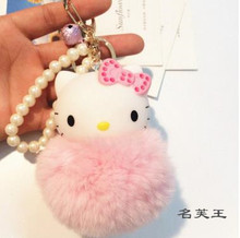 Lovely Cartoon Hello Kitty Pink Cat Anime fur pompom pom pom ball Keychain Key Chain holder ring Girls bag jewelry Charm pendant