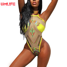 One Piece Yellow Swimsuit Women Sexy Transparent Mesh Swimwear African Print Swimsuits monokini maillot de bain femme une piece