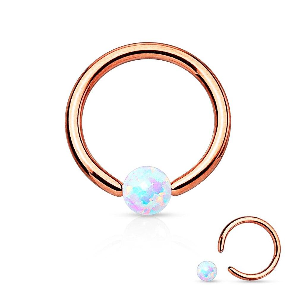 1pc Opal Set Flat-Back Black Plated Captive Bead Ring Septum Nipple Body Jewelry