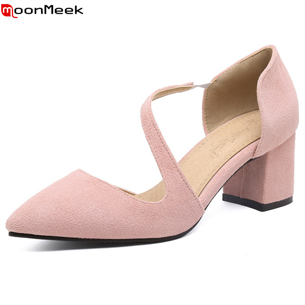 MoonMeek new fashion 2018 spring autumn high heels ladies shoes pointed toe flock elastic band simple pumps women shoes<br>