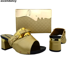 Gold Color Sales In Women Matching Shoes and Bag Set Italian Shoes and Bags Set Envio Gratis Nigerian Shoes and Matching Bags(China)