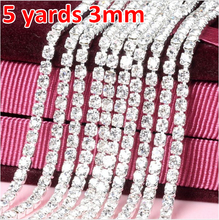 3mm 5 yard Crystal White Glass Rhinestone Cup Chain Silver Base With Claw Dress Decoration Trim Applique Sew on Garment Bags