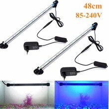 Aquarium Fish Tank 48cm 24 LED 5050 SMD LED Bar Light Clip Lamp Waterproof Underwater Submersible Decoration Lighting Blue White