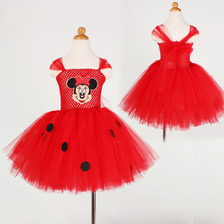 Fashion birthday girl outfits red christmas big black polka dot girls cartoon dress applique<br><br>Aliexpress