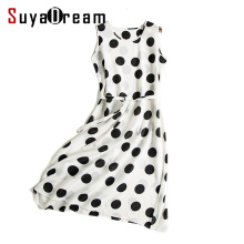 Women Silk long dress Luxury 100% Natural silk Sweet DOTS Print White dress mulberry silk Sleeveless dress 2017 Summer