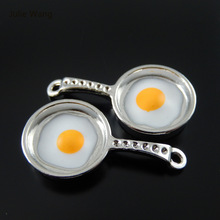 Julie Wang 5PCs Charms Alloy Retro Silver Plated Frying pan with Eggs Jewelry Making Pendant Charm