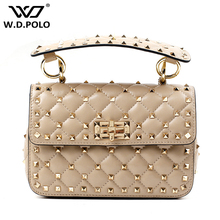 WDPOLO  High Genuine leather women stud hand bag rock roll stylish lady chain shoulder bags girl dating messenger bagM2316