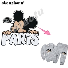 2017 NEW A Level iron on transfers cartoon PARIS mickey mouse patches Ironing Stickers For Clothes Baby heat transfers patches(China)