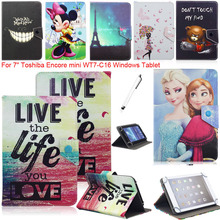 "Congelados Princess Elsa Anna Mickey Minnie Mouse Leather Case Cover  For 7"" Toshiba Encore mini WT7-C16 Windows Tablet"