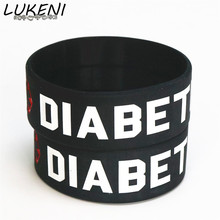 LUKENI Fashion 25PC Black Medical Diabetic Silicone Wristbands Wide Armband Nurse Bracelet&Bangles Adult Size Wholesale SH087(China)