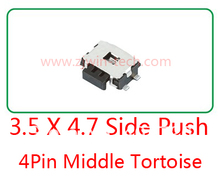 10pcs Momentary Tactile Tact Push Button Switch Phone Side Push Switch 4.7 x 3.5 x 1.67mm 4 Pin SMD(China)
