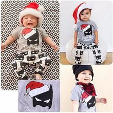 Christmas Halloween 2017 Baby Kids Boy Girls Christmas Outfits Batman T-shirt+Pants 2pcs baby clothing sets