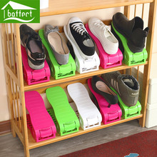 2pcs/ lot Shoes Organizer Adjustable Height Double Layer Plastic Shoe Rack Shoe Drawer Home Storage B Save Space HSB109