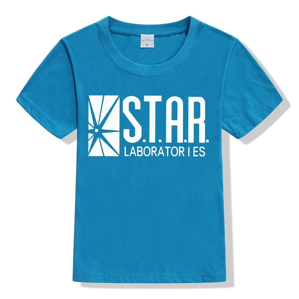3-10Y Kids Black Star Lab Letter Print Short Sleeve T Shirt Boys Novelty T-shirt Girls Tshirt Clothes Anime Comics The Flash 13