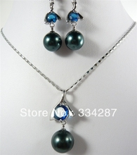 12mm white/black shell pearl +white/purple/blue CZ pendant earring set