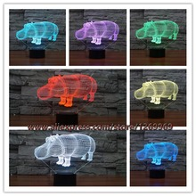 New 3D LED Animal Rhinoceros lamp night light bedroom wedding decoration 7color conversion Babies 3D Cartoon Lighting Home Decor