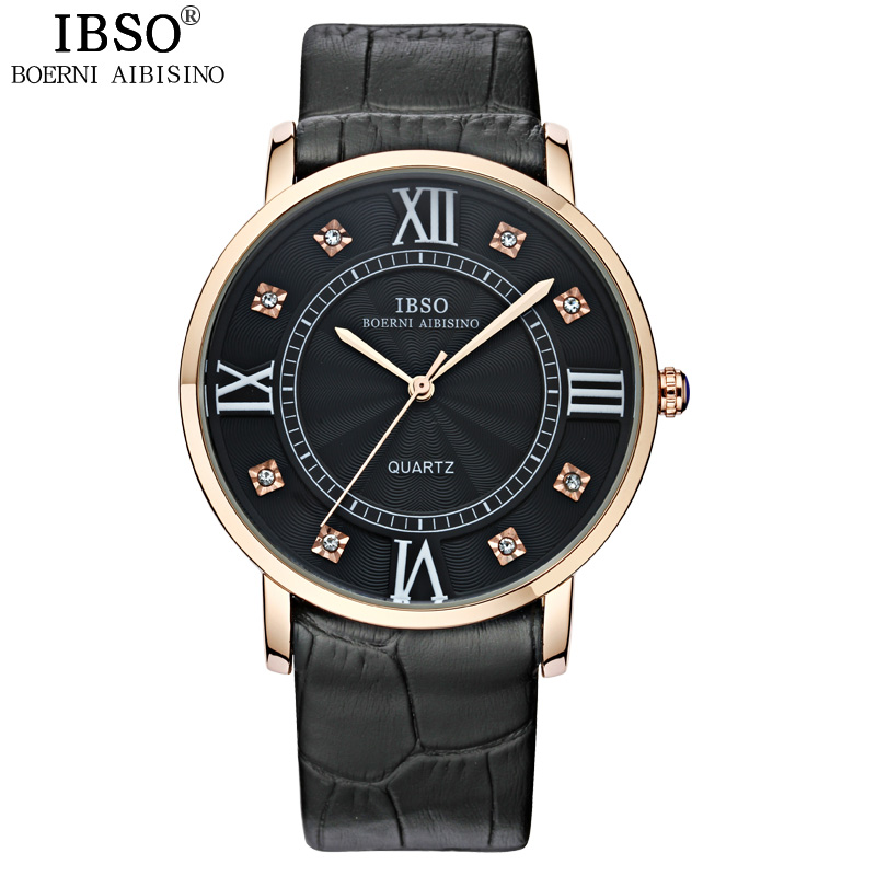 IBSO Original Crystal Diamond Lovers Watch Party Fashion Women Watches Business Luxury Genuine Leather Strap Relojes Hombre<br><br>Aliexpress