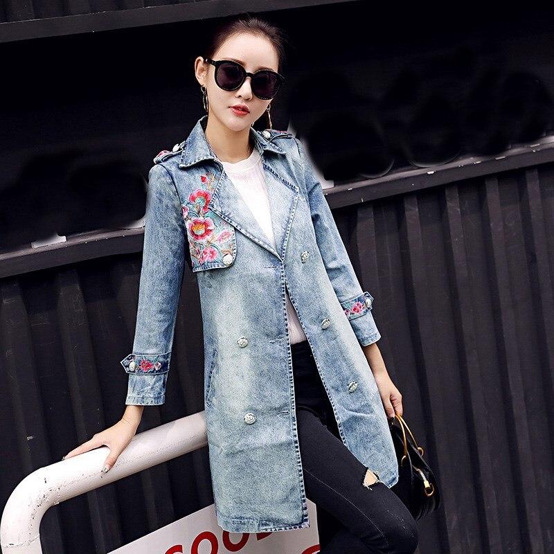 Джинсовые пальто женские с вышивкой 41