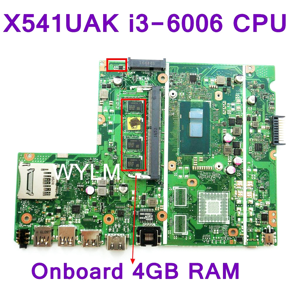 X541UAK i3-6006 CPU REV 2.0 Onboard 4GB RAM For ASUS X541UAK X541UVK Laptop Motherboard HDMI USB 3.0 100% Tested free shipping