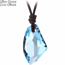 promotion Wholesales High Quality Tranperant leather rope Colorful Crystal Axe Shape Pendant Necklace fashion jewelry 80018