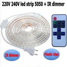 220V dimmer + 220V led tape SMD 5050 60leds/M Warm white red blue yellow led strip light Rope IR remote controller Power plug