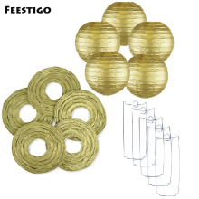 15PCS 8-12inch(20/25/30cm) Metallic Gold Paper Lanterns For Wedding Party Decoration Round Silver Sky Lanterns Birthday Decor(China)
