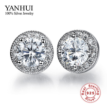 Vintage Round CZ Diamant Stud Earrings Wholesale 925 Sterling Silver Fashion Crystal Wedding Jewelry For Women Brincos BKE013(China)
