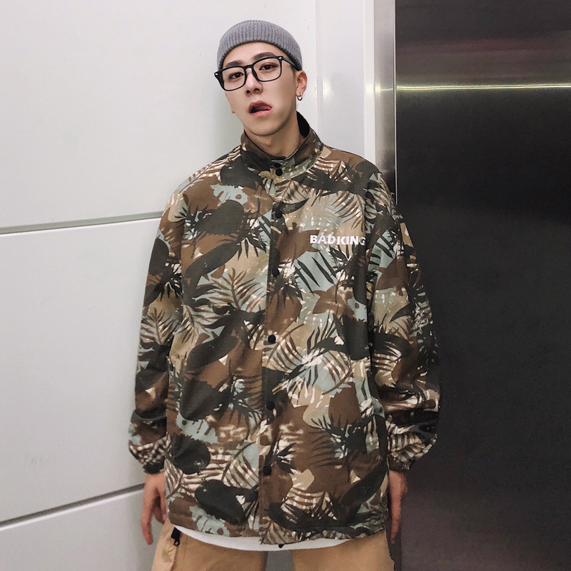 Men Double Sided Wear Black Camouflage Loose Casual Jacket Male Streetwear Hip Hop Outerwear Coat Harajuku Overcoat