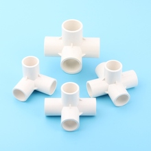 "20mm(3/4"") Inner Dia. White PVC Pipe Solid Connector Flower Garden Water Pipe Fittings 3 4 5 6 Ways Stereo Joints(China)"