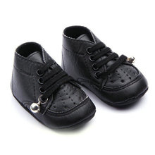 Toddler Casual PU Leather Baby Shoes Boys Girls Bell Anti Slip Lace Shoes 0-18M