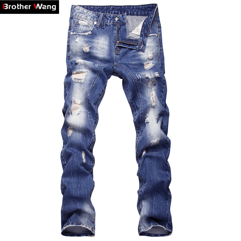 2017 new mens jeans fashion classic Washing Wear white Holes jeans Slim Small straight Large size pants Mens 38 40Одежда и ак�е��уары<br><br><br>Aliexpress
