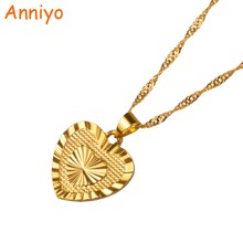 Anniyo 1.8cm Heart Pendant and Necklaces Romantic Jewelry Gold Color for Womens,Wedding gift,Girlfriend Wife Gifts #006110(China)