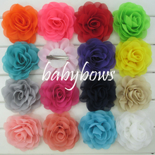 Babymatch 60pcs 3.5'' Rosette Hair Flower With Clips Chiffon Silk Flower Brooch Decoration For Wedding Shoes Garment Accessories