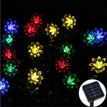 50LEDs Fairy Lotus Flower LED Solar Lamp Outdoor Waterproof Decoration Christmas Garden Holiday Solar Power String Lights(China)