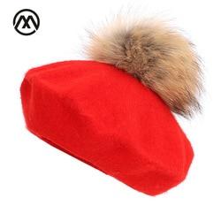 Новый берет художника на открытом воздухе шляпы художника осень и зима новые теплые вязаные однотонные кепки модный помпон из меха енота бе...
