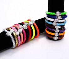 Leather Wrap Wristband Cuff Punk Magnetic Rhinestone Buckle Bracelet Bangle for Women