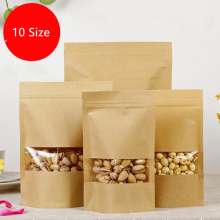 10 Size Brown Gift Kraft Paper Bag Zip Lock Food Snack Tea Bag Packing Retail craft paper bag food