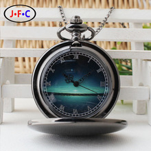 Retro black pocket watch the stars literally flip chain table trend students tide quartz watch