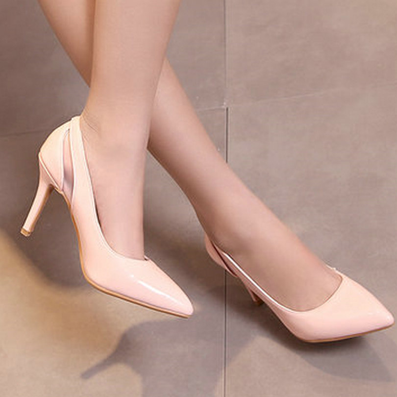 White Woman Shoes Thin High Heel Platform PU Patent Leather Pointed Toe Women Pump Ladies Wedding Shoes Size 34-43<br><br>Aliexpress
