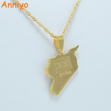 Anniyo SYRIA Map Flag Vacuum Gold Color Charms Pendant Necklaces Syrians Jewellery Middle East #009A210(China)