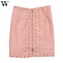 Buy Womail Women Skirts Rivet Leather Suede Pencil Skirt Winter Elastic High Waist Bodycon Mini Skirt Zipper Streetwear Jupe Dec21 for $16.06 in AliExpress store